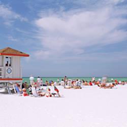 USA, Florida, Siesta Key Beach, Group of people on the beach