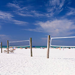 Volleyball nets on the beach, Siesta Beach, Siesta Key, Florida, USA