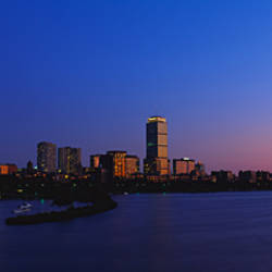 USA, Massachusetts, Boston, City at sunset viewed from Longfellow Bridge across Charles River