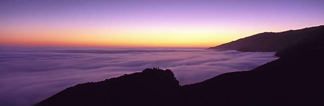 USA, California, Big Sur, Marine Layer, Big Sur at dusk