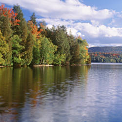 Reflection of sky in water, Moose Pond, Essex County, Adirondack Mountains, New York State, USA