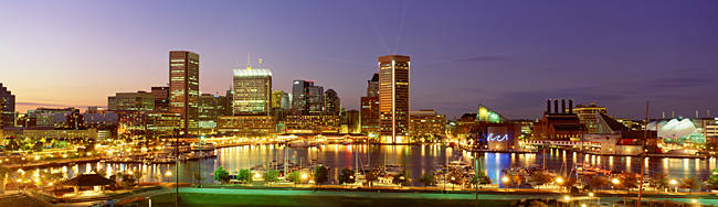 USA, Maryland, Baltimore, City at night viewed from Federal Hill Park
