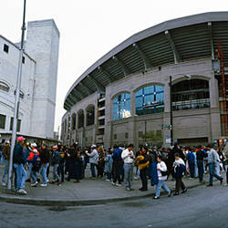 Spectators in front of a baseball stadium, U.S. Cellular Field, Chicago, Cook County, Illinois, USA