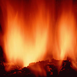 Close-up of fire in fireplace