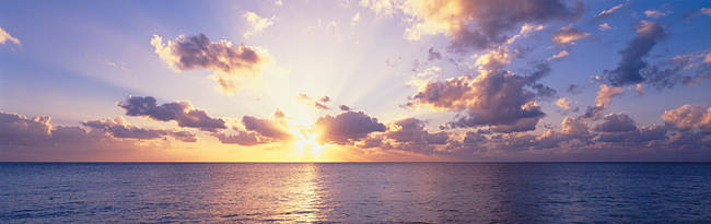 Sunset over the sea, Seven Mile Beach, Grand Cayman, Cayman Islands