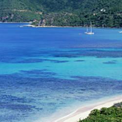 High Angle View Of A Coastline, Seven Mile Beach, Caribbean Sea, Grand Cayman, Cayman Islands