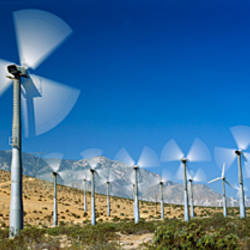 Wind turbines spinning in a field, Palm Springs, California, USA