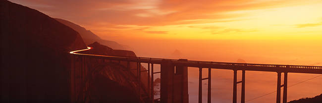 Dusk Hwy 1 w/ Bixby Bridge Big Sur CA USA