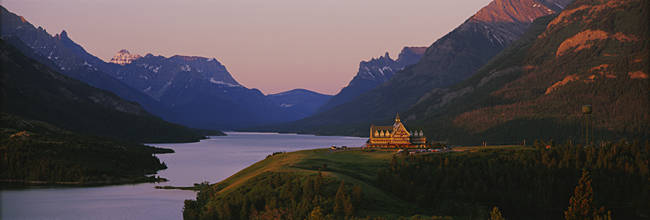 High angle view of a hotel at sunrise, Prince Of Wales Hotel, US Glacier National Park, Alberta, Canada