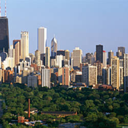Buildings in a city, view of Hancock Building and Sears Tower, Lincoln Park, Lake Michigan, Chicago, Cook County, Illinois, USA