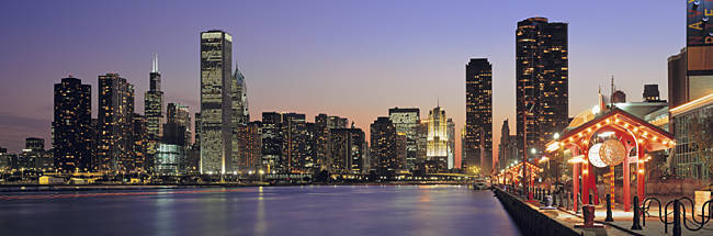 View Of The Navy Pier And Skyline, Chicago, Illinois, USA