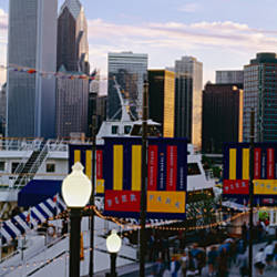 Pedestrians walking in a city, Navy Pier, Chicago, Illinois, USA