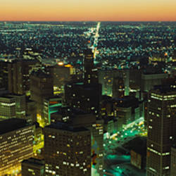 High angle view of buildings lit up at night, Detroit, Michigan, USA