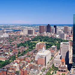 Aerial view of buildings in a city, Boston, Cambridge, Massachusetts, USA