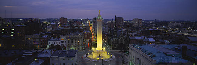 High angle view of a monument, Washington Monument, Mount Vernon Place, Baltimore, Maryland, USA