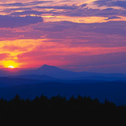 Sunset over mountains, Tower Road, Williamstown, Vermont, USA