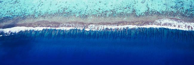 Aerial view of a lagoon, Huahine Island, Tahiti, French Polynesia