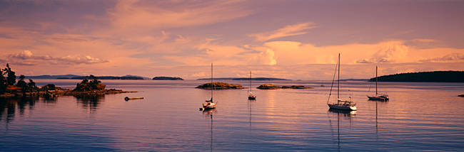 Sailboats in the sea, Portland Island, Gulf Islands, Canada