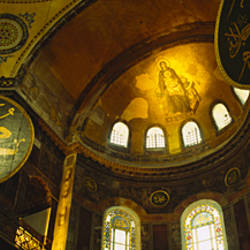 Low angle view of a ceiling, Aya Sophia, Istanbul, Turkey