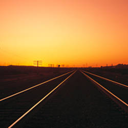 Sunset, Railroad Tracks, Daggett, California, USA