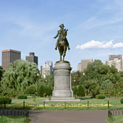 Statue in a garden, Boston Public Gardens, Boston, Massachusetts, USA