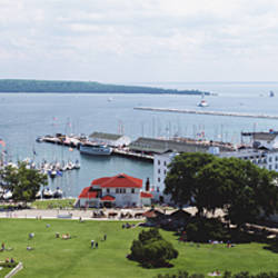 USA, Michigan, Mackinac Island, Aerial view of a harbor