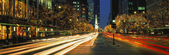 Blurred Motion, Cars, Michigan Avenue, Christmas Lights, Chicago, Illinois, USA