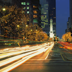 Blurred Motion, Cars, Michigan Avenue, Christmas Lights, Chicago, Illinois, USA