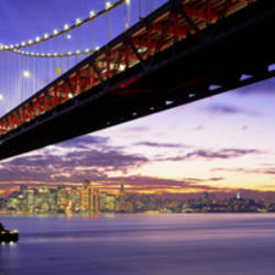 Twilight, Bay Bridge, San Francisco, California, USA