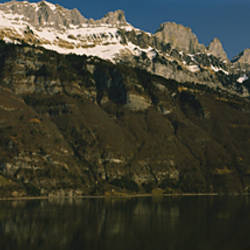 Lake on mountainside, Lake Walensee, Zurich, Canton Of Zurich, Switzerland