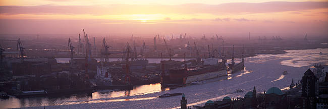 High angle view of container ships in the river, Elbe River, Landungsbrucken, Hamburg Harbour, Hamburg, Germany