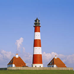 Lighthouse on a landscape, Westerhever Lighthouse, Schleswig-Holstein, Germany