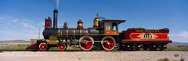Train engine on a railroad track, Locomotive 119, Golden Spike National Historic Site, Utah, USA