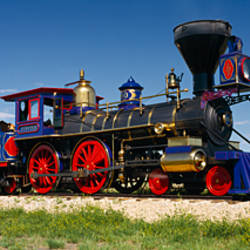 Train engine on a railroad track, Jupiter, Golden Spike National Historic Site, Utah, USA