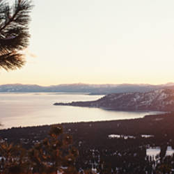 Sunrise over a mountain, Lake Tahoe, Californian Sierra Nevada, California, USA