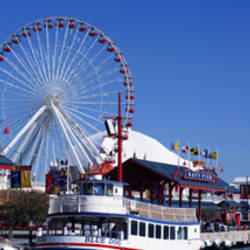 Ferris wheel at the waterfront, Navy Pier, Lake Michigan, Chicago, Cook County, Illinois, USA