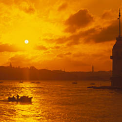 Sunset over a river, Bosphorus, Istanbul, Turkey