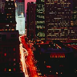 Sunset Aerial Michigan Avenue Chicago IL USA