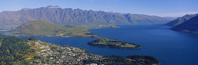Aerial view of an island, Queenstown, South Island, New Zealand