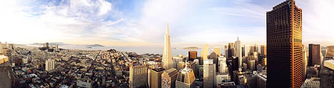 High angle view of a city, Transamerica Building, San Francisco, California, USA
