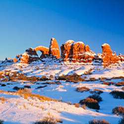 Rock formations on a landscape, Arches National Park, Utah, USA
