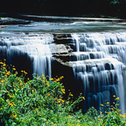 Waterfall in a park, Middle Falls, Genesee, Letchworth State Park, New York State, USA