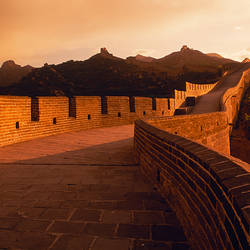 Fortified wall passing through mountains, Great Wall Of China, China