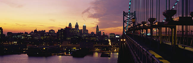 Bridge over a river, Benjamin Franklin Bridge, Philadelphia, Pennsylvania, USA