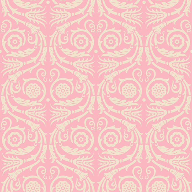 Acanthus Rinceau, Pink and Cream
