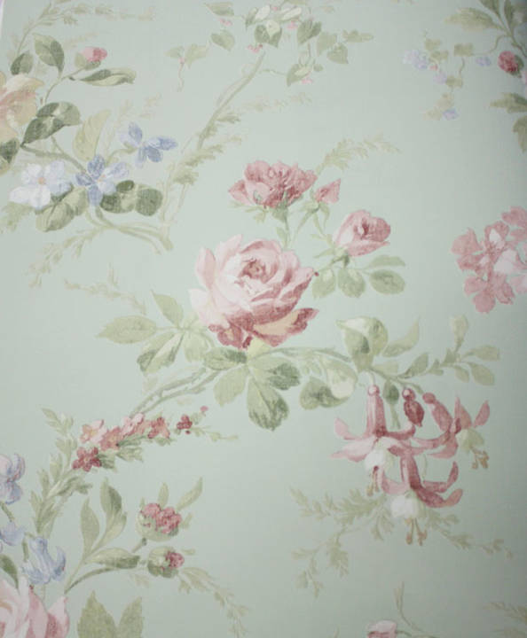 Linen Floral  Light Green, Pink