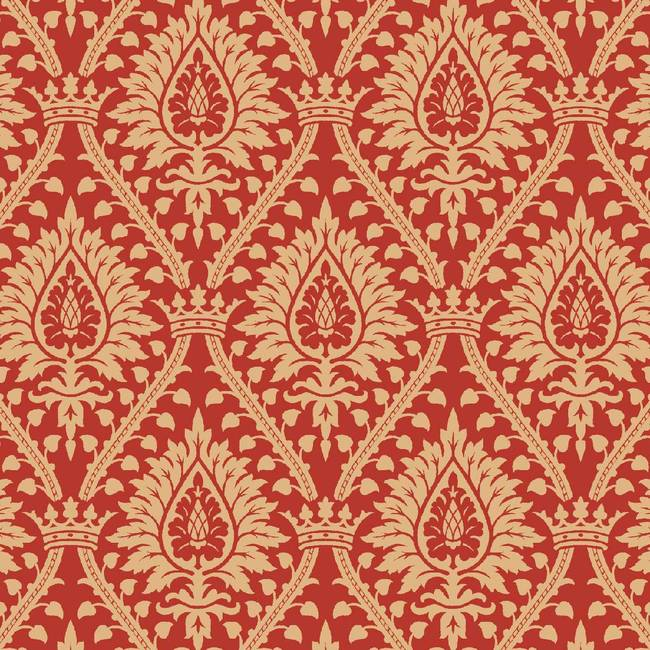 Damask, Taupe and Red