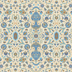 Intricate Rug, Blue and Cream