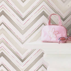 Chevron Stripe Shimmery Taupe Kids Wallpaper