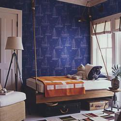 Come Sail Away Royal Blue Kids Wallpaper